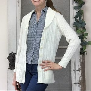 Vintage 1960's Cable Knit Cream Cardigan sz. S